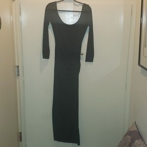 Curve-hugging black maxi dress